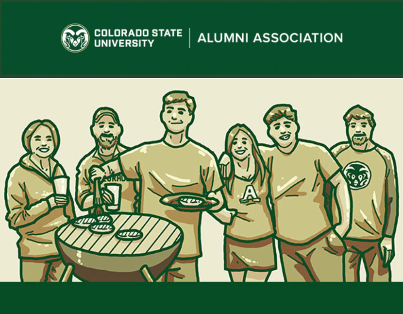 Illustrated style, people huddled around charcoal grill for tailgating