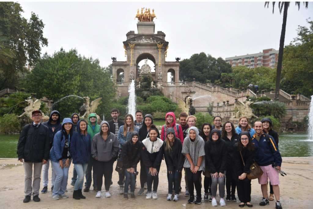 Soo Kang and her students pose for a group photo during one of their field trips.