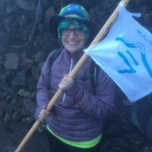 Emily Clemons hiking Mt. Fuji