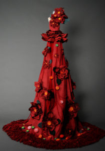 Red gown with flowers