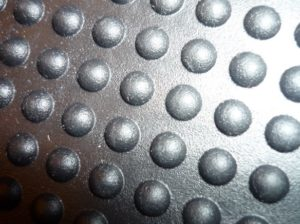 Close up of metal bumps