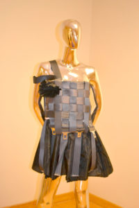 Dress woven from seat belts