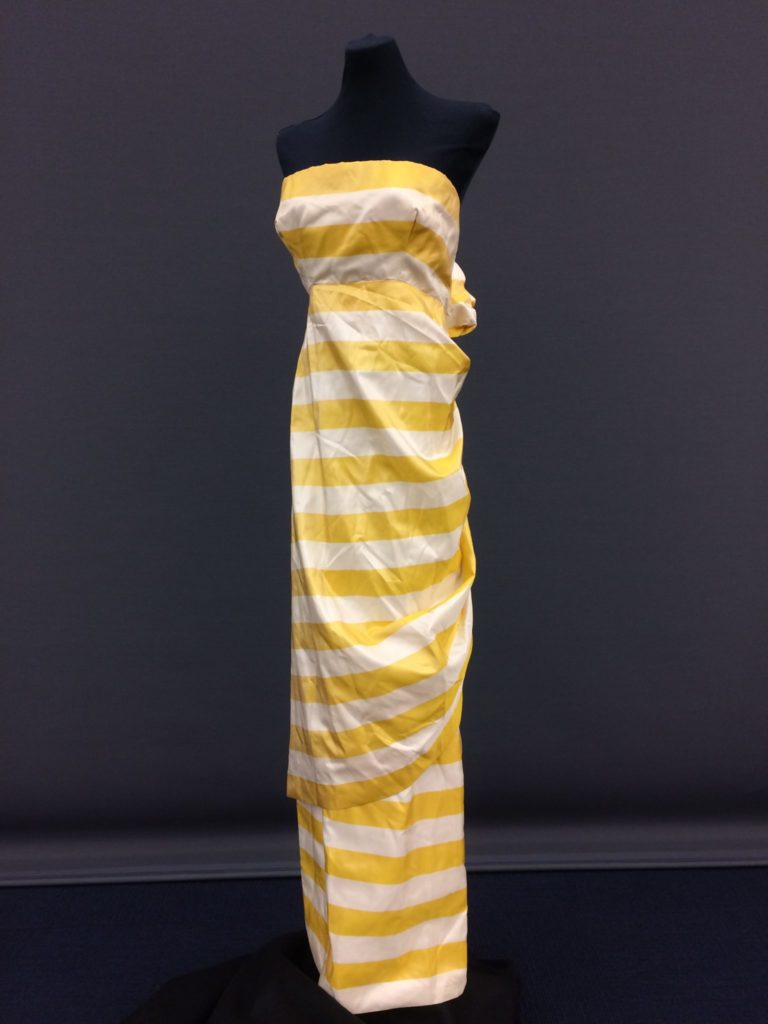 Julia Tobias yellow and white striped gown