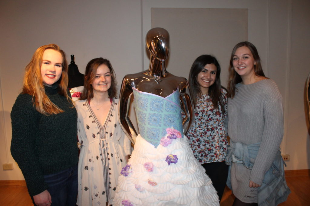Students with lampshade dress