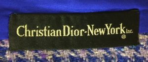 A Christian Dior label from New York Inc.