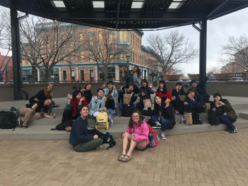 Group at band shell in Old Town Fort Collins