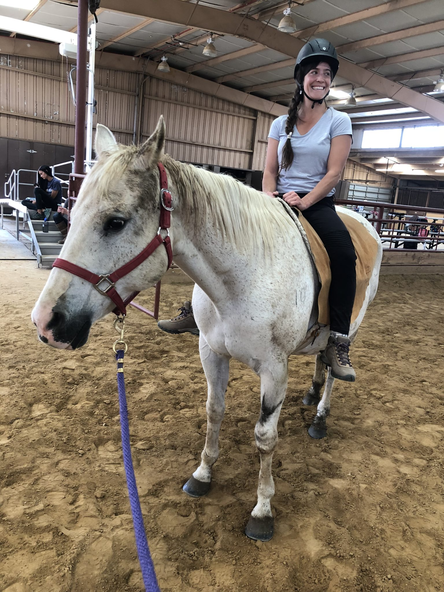 Jenna Harp on top of a white horse inside of the hippotherapy center
