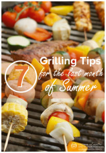 7 Grilling tips for the summer - veggie and meat kebabs on the grill.