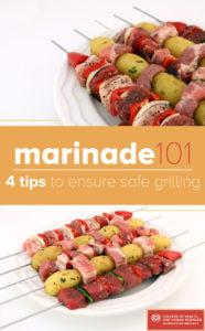 Marinade 101: Meat, potatoes and veggies on kebab.