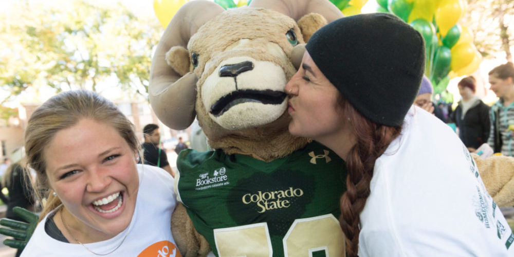 Cam the Ram at the Annual Homecoming Race