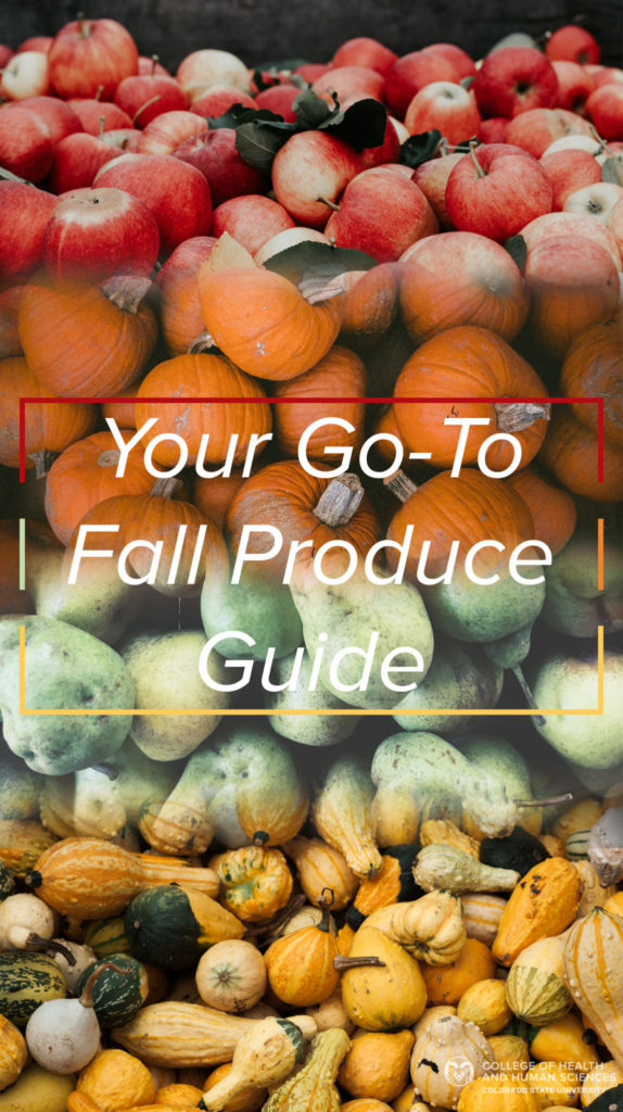 Fall Produce: Apples, pumpkins, pears and squash.