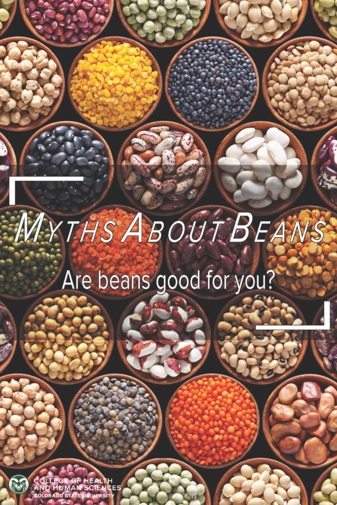 "Various beans in small dishes. The text reads ""Myths about beans, Are beans good for you?"""