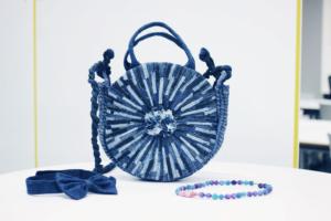 blue circle bag from Make Fashion Clean