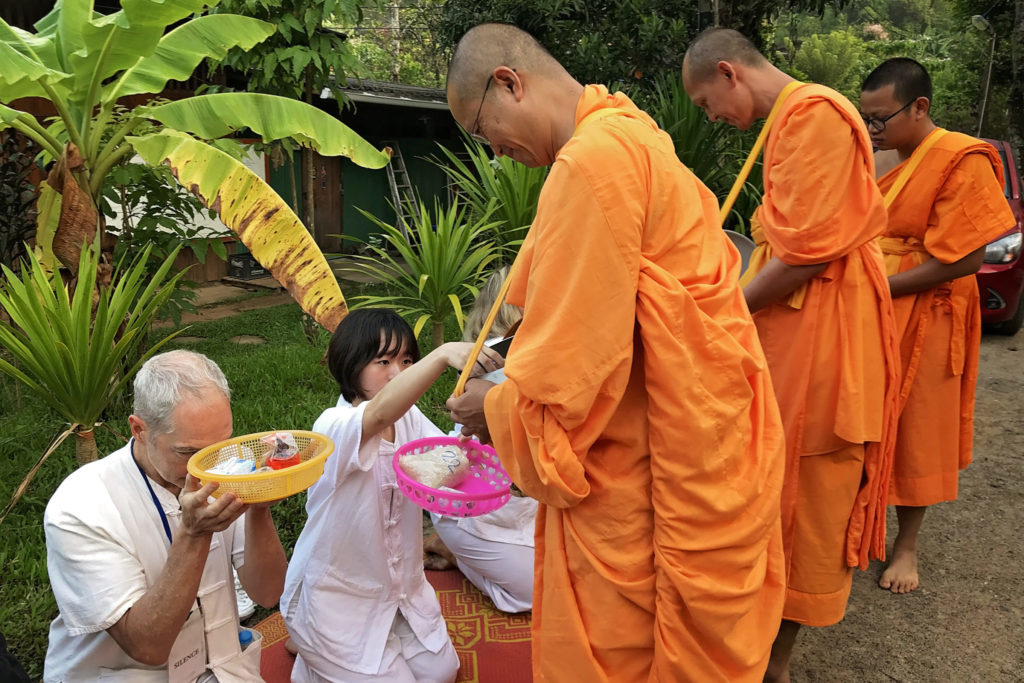 Buddhist monks and retreat participants in Thailand