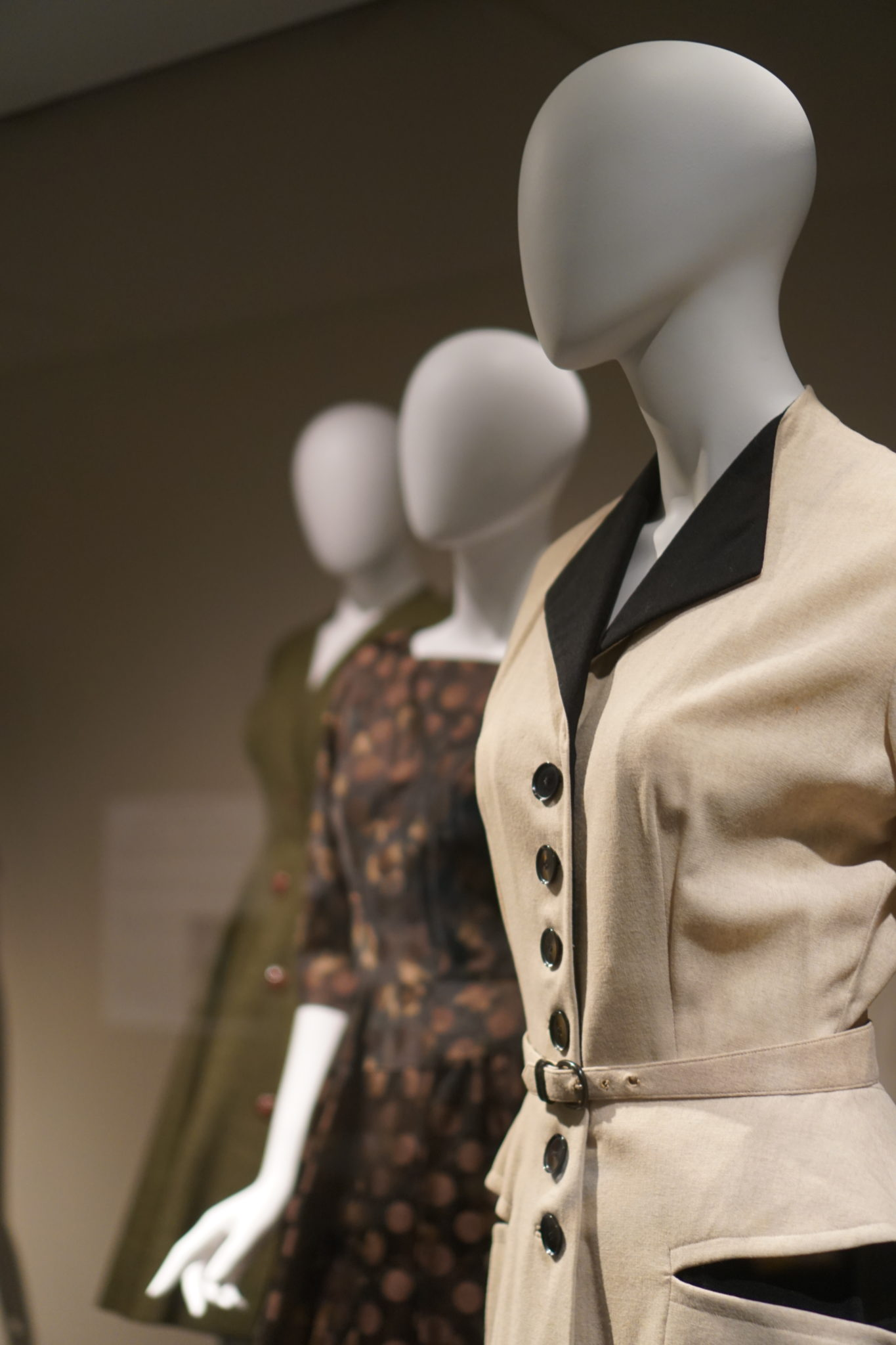 Mannequins wear clothing inspired by Dior's new look.