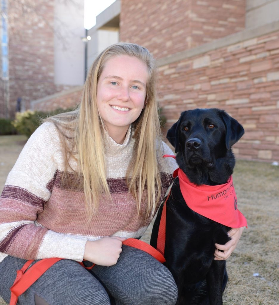 emily oltmanns and her dog jackson together on the csu campus