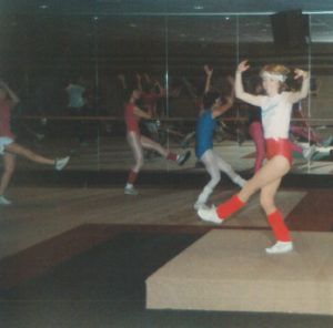Jane Sullivan teaches an aerobics class in 1987