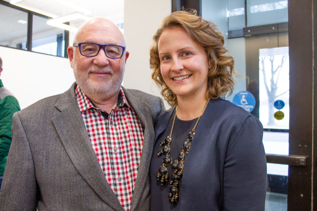 Dr. Josiane Broussard reunites with her faculty mentor, , at the Sleep and Metabolism (SAM) Laboratory grand opening of the facility on February 19th, 2019.