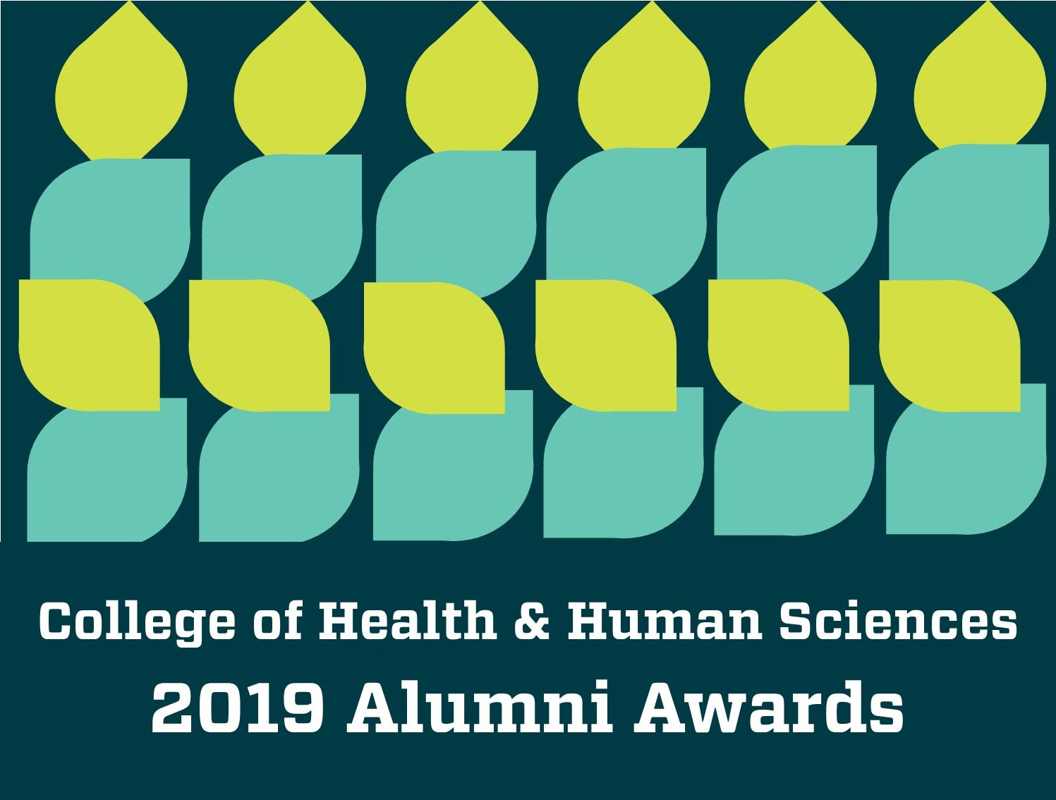 "An abstract pattern decorates the Alumni Awards logo. Text reads, ""College of Health and Human Sciences 2019 CHHS Alumni Awards"""