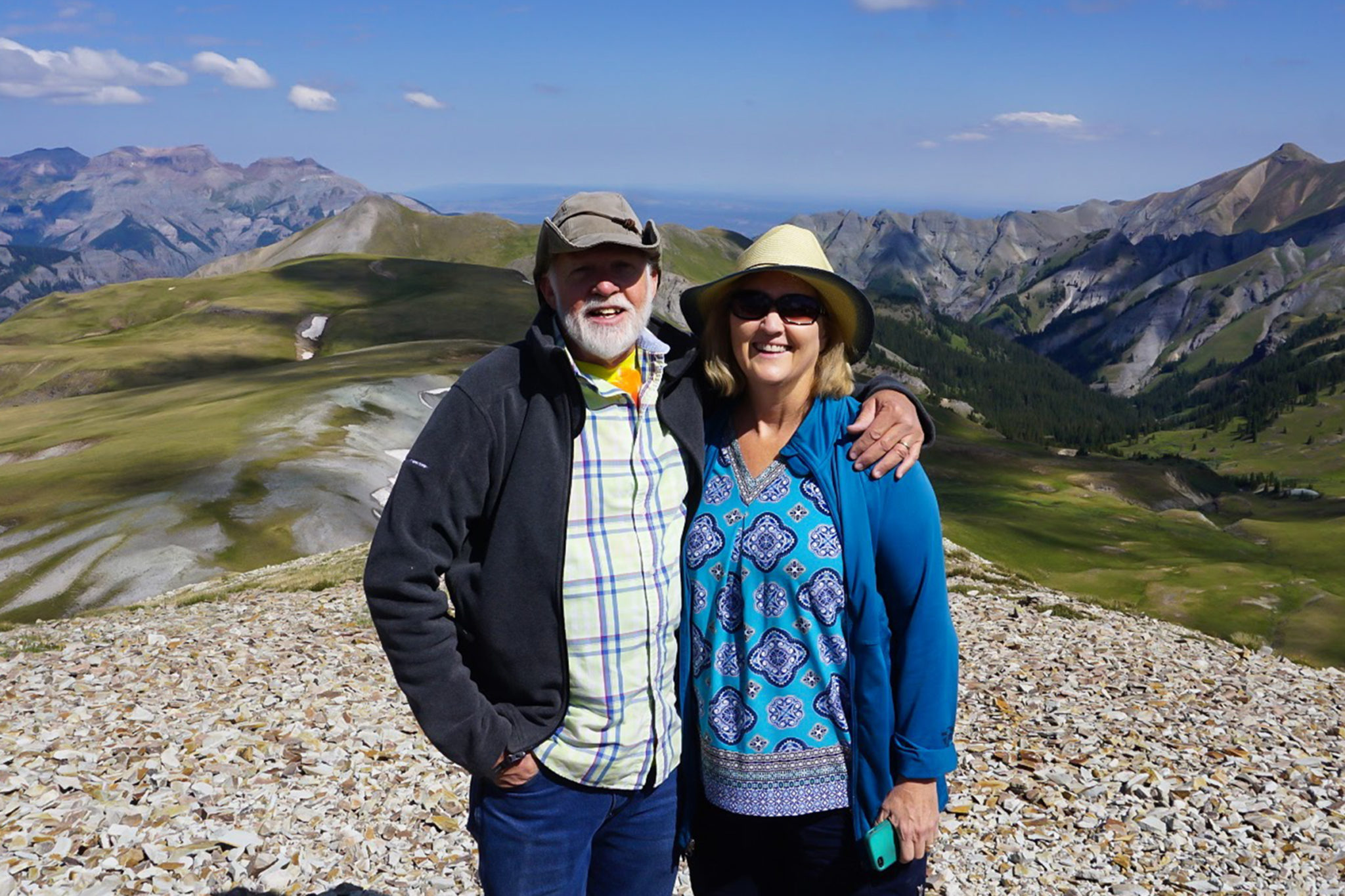 David Greene with his wife Donna hiking in the mountains