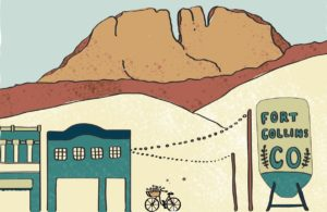 Artwork featuring Horsetooth Mountain and a bicycle