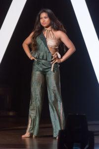 model wearing a parachute pantsuit