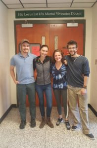 The Group 1 Human Anatomy Dissection team in Fall of 2018. In this photo we had just finished a complete human cadaveric dissection. Here pictured from left to right: Michael Stinnett, Katie Brown, Grace Kennedy and Luke Whitcomb.