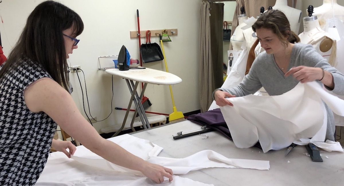 Students working on costumes