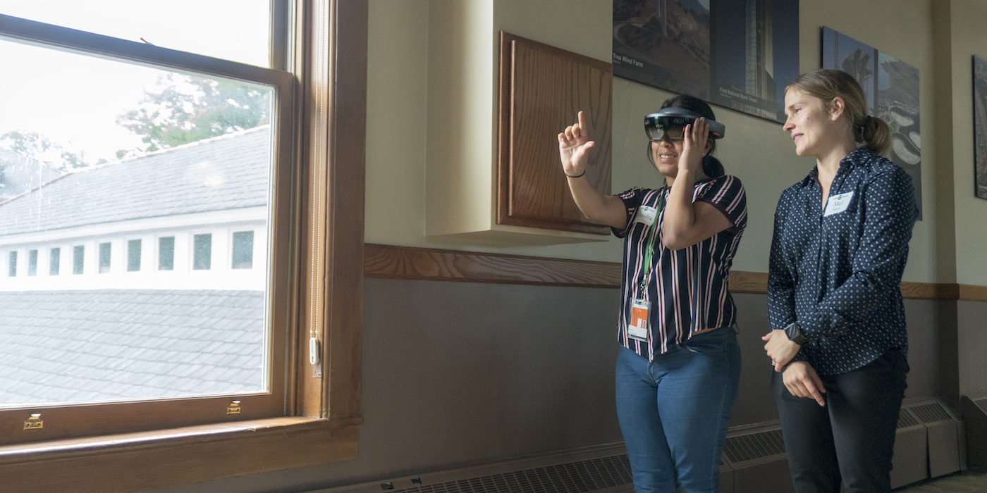 Participant using virtual reality goggles