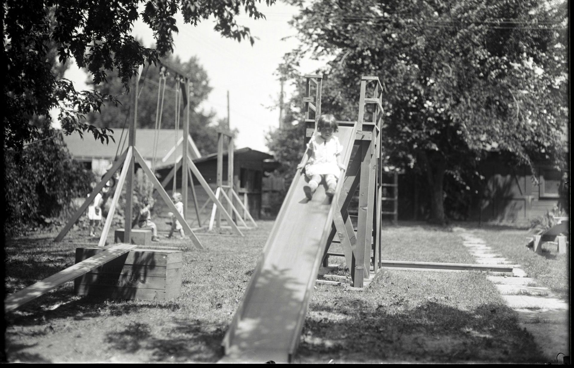A child going down a slide