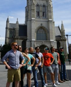 CM study abroad European group pic-summer 2019-in front of cathedral