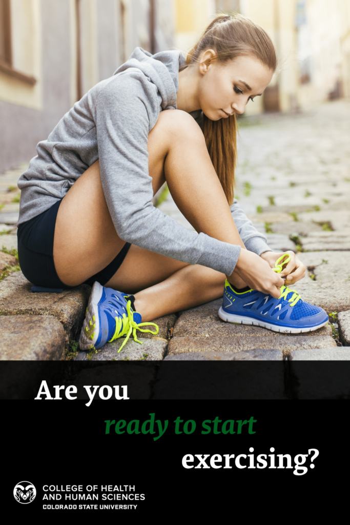 Are you ready to start exercising? Photo of girl tying her shoes