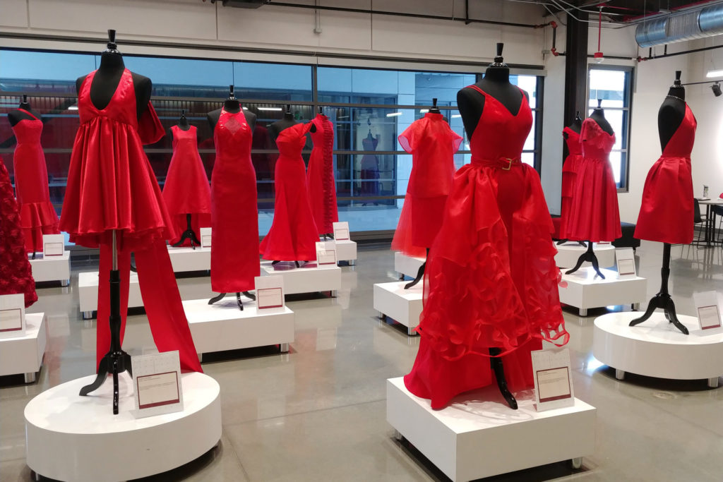 Red Dresses on display at the Richardson Design Center