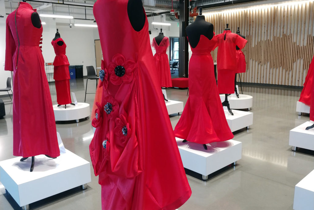 Red Dress designs with rosette detail