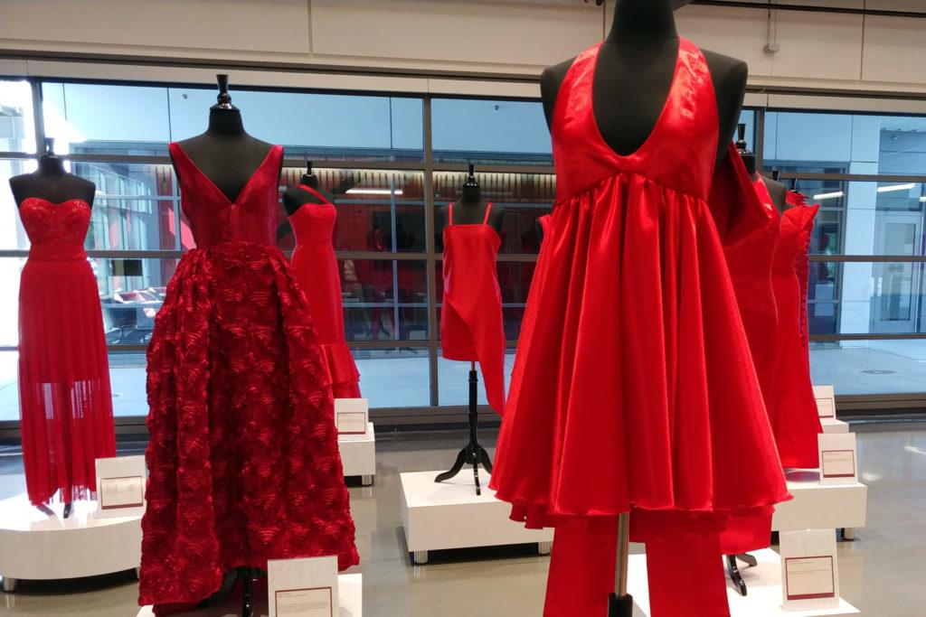 Red Dress designs with short dress closeup