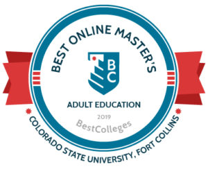 2019 Best Colleges Badge - Best Online Master's, Adult Education Colorado State University, Fort Collins