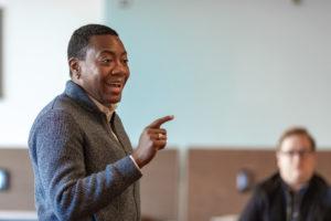 Dr. D-L Stewart teaches a student affairs class