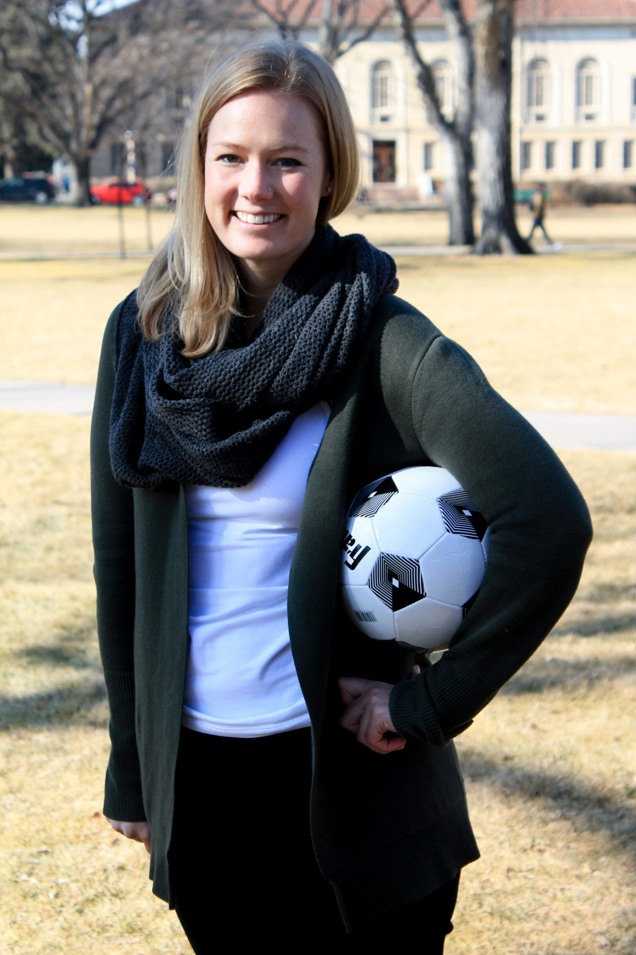 Jaclyn Stephens holding a soccer ball