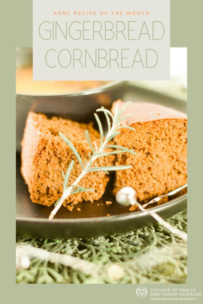 Gingerbread Cornbread recipe. Cornbread on a silver platter with garland.