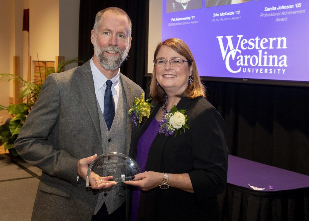Matthew Hickey receiving the 2019 Academic Achievement Award from Western Carolina University.