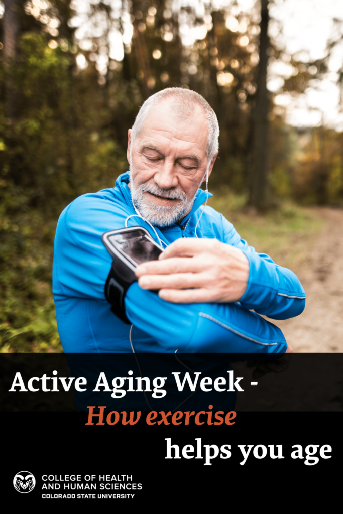 Active Aging Week - How Exercise Helps You Age - Man checking phone running app in the woods