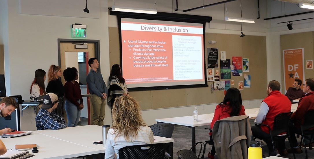 Students presenting plan