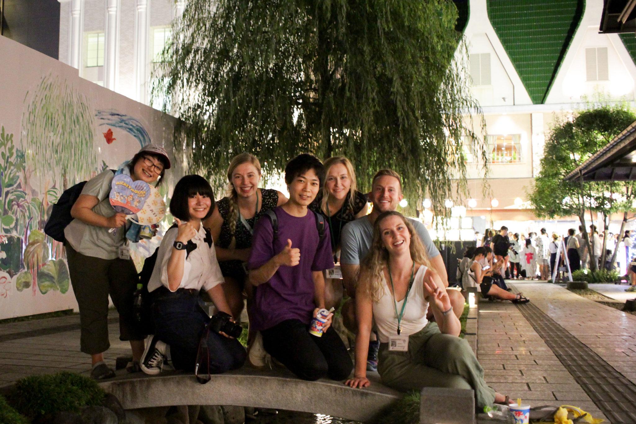 CSU and Yamagata students near a river canal