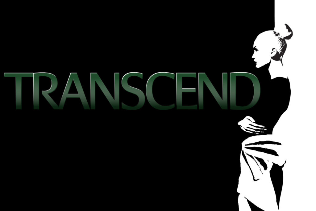 Transcend green graphic logo with a black and white illustration of a woman in a dress