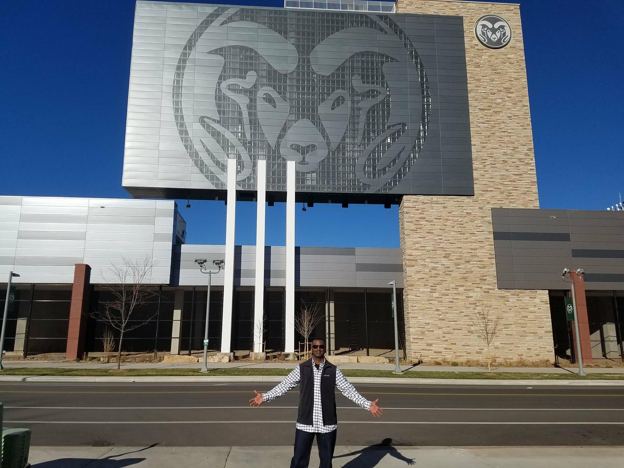 Rainey standing outside Canvas Stadium.