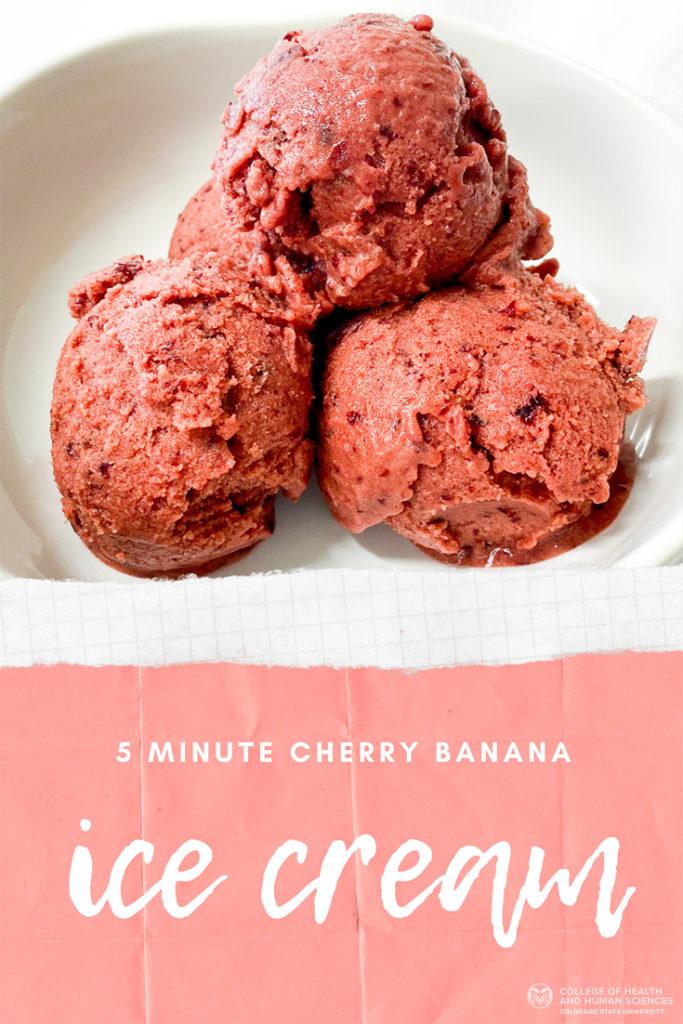 Three scoops of cherry banana ice cream in white bowl.