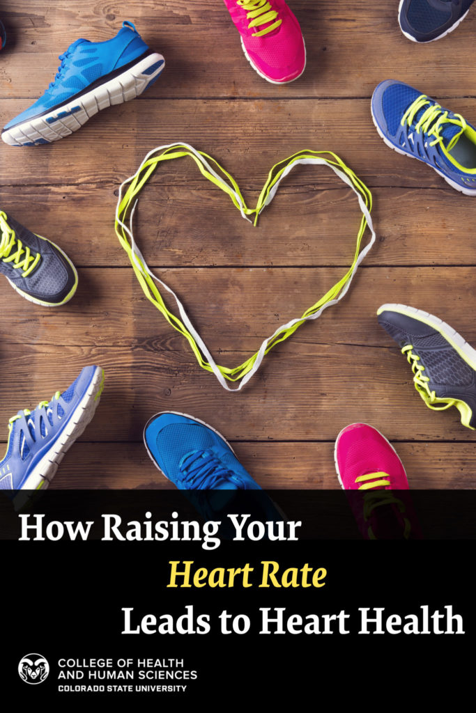 "Graphic with picture of a heart and sneakers ""How Raising Your Heart Rate Leads to Heart Health"""