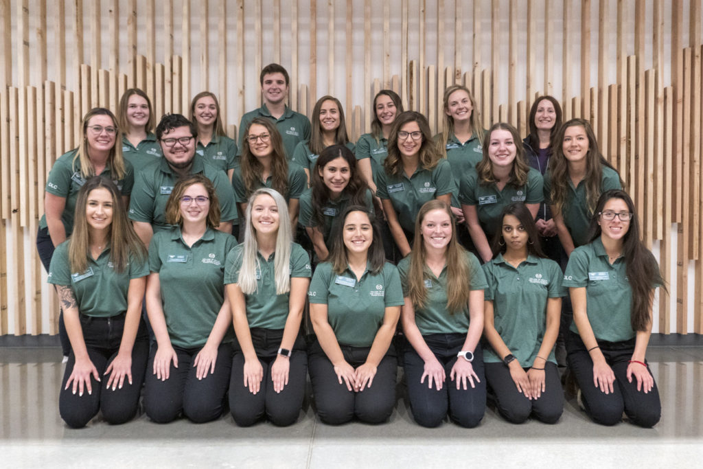 Group photo of students on the Dean's Leadership Council wearing green polos and smiling.