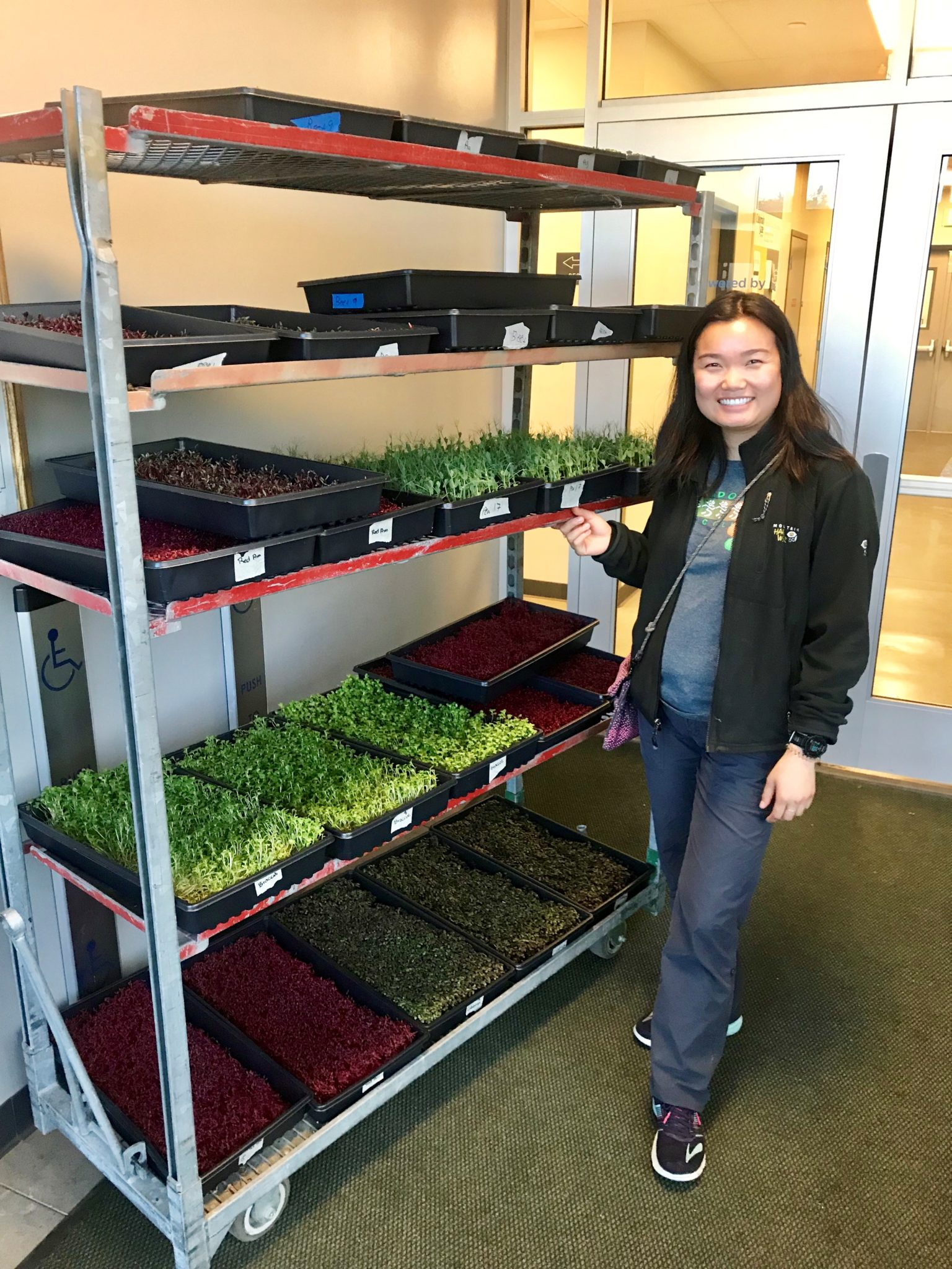 Kiri Michell with microgreens