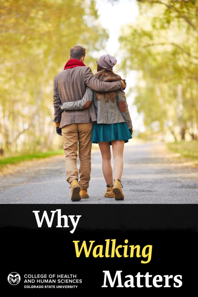 """""""Why Walking Matters"""" Back view of young couple walking in park in autumn"""